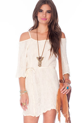 Just Be Gauze Dress in Mocha