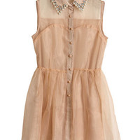 Beaded Lapel Pompom Sheer Nude Dress [NCSKM0388] - $39.99 :
