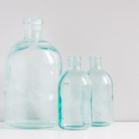 Vintage auqmarine tint bottles - Set of 3 glass bottles - Soviet celadon - Blue tint decanter