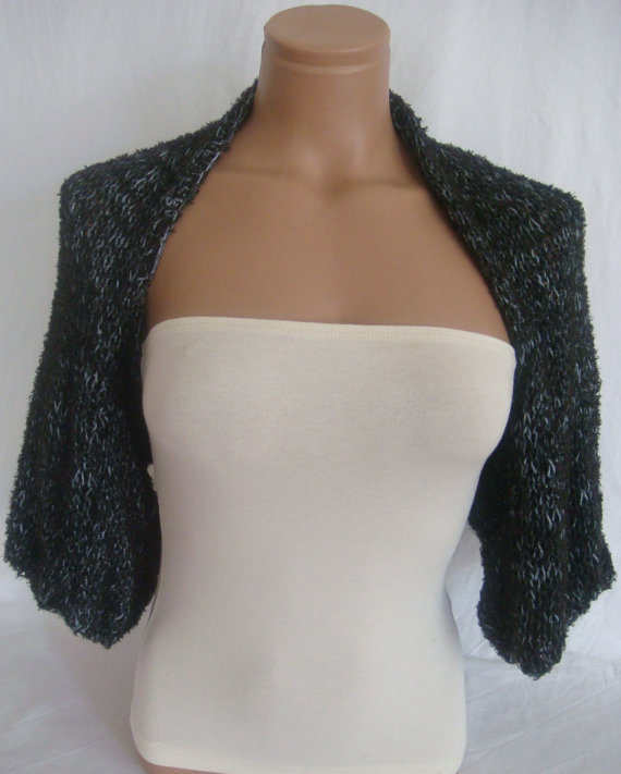 Hand knitted black gray bolero shrug