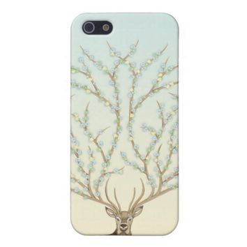 Deer with large antlers and flowers Iphone 5 case