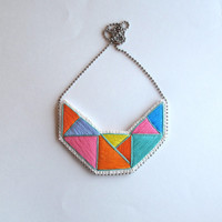 Embroidered necklace geometric bib in mint bright yellow pink blue lavender and orange perfect for Spring statement necklace