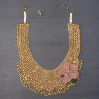 Beaded Collar Necklace with Pink Suede Flowers : Green Eyed Girl