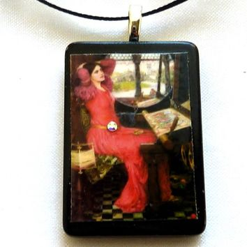 Waterhouses the Lady of Shalott game tile pendant necklace