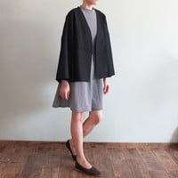 Wool collarless wrap crop coat with kimono sleeves