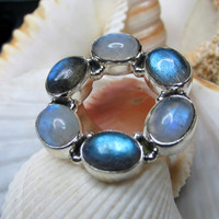 Sterling Silver Rainbow Moonstone and Labradorite Ring 6.57g Size 8