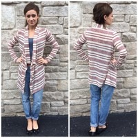 Burgundy and Taupe Striped Cardigan