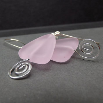 Pink Frosted Glass Earrings:  Blossom Rose Triangle Sea Glass Drop Earrings, Hammered Silver Swirl Spiral Geometric Beach Jewelry