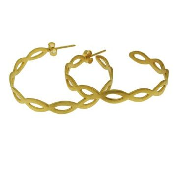 Gold Plated Braided Hoop Earrings