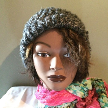 Dark And Light Grey Winter Hat With Colored Flecks And Small Brim