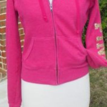 Victoria's Secret Pink Hoodie Jacket Size X Small Pink Peace Sign on Back