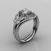 14KT White Gold Diamond Butterfly and Vine White Sapphire Wedding Ring,Engagement Ring NN117SS-14KWGDBD Nature Inspired Jewelry