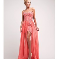 Coral Satin & Stone High-Low Gown Homecoming 2014