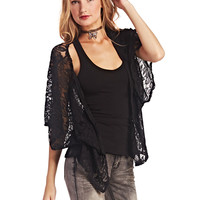 Midnight Floral Lace Kimono   Wet Seal