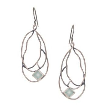 Oxidized Square Stone Branch Pendant Earring - New Items