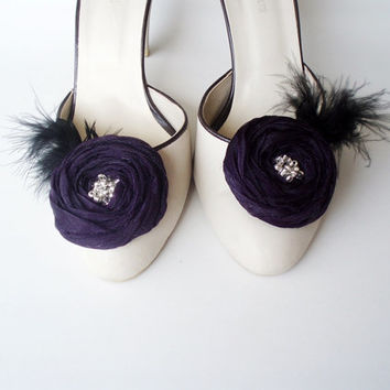 Purple Chiffon Roses with Black Feather Shoe Clips