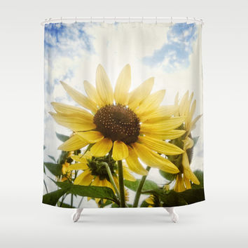 Summer Sunflower Sky Shower Curtain by RichCaspian | Society6