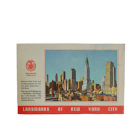 Vintage 1940s Postcard Linen - New York City Landmarks- Mid Town Manhattan The Chrysler Building and more - Unused