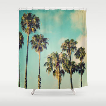 Palms Blue Shower Curtain by RichCaspian | Society6
