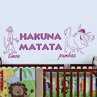 Wall Decal Vinyl Sticker Decals Art Home Decor Murals Childrens Kids Nursery Baby Decor Quote Decal Quote Hakuna Matata Letters Phrase Words Decals KV28