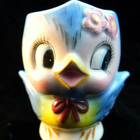 Lefton Bluebirds Milk Cup Original Box Adorable, Collectible Anthropomorphic Cute Blue and Pink Child's cup