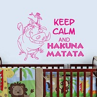 Wall Decal Vinyl Sticker Decals Art Home Decor Murals Childrens Kids Nursery Baby Decor Quote Decal Quote Keep Calm and Hakuna Matata Letters Phrase Words Decals KV30