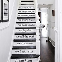 Wall Decal Vinyl Sticker Decals Art Home Decor Murals Quote In this house... we love STAIR CASE Stairway Staircase Decals KV33