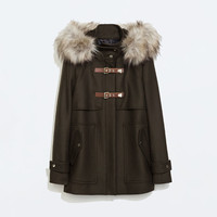 Wool duffle coat with fur hood