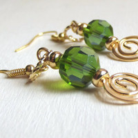 Peridot Crystal Earrings:  August Birthday, Faceted Golden Green Summer Fashion Jewelry