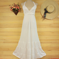 Romantic Greece  V neck White Black Bride Bridesmaids Wedding Dress Gown S41