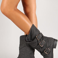Felt Strappy Buckle Mid-Calf Boot