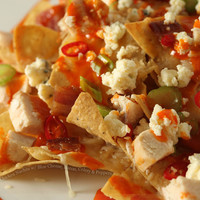 Buffalo Chicken Nachos with Blue Cheese, Bacon, Celery and Peppers « FoodPornDaily