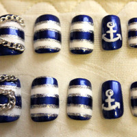 Ahoy, Sailor Nautical Nails