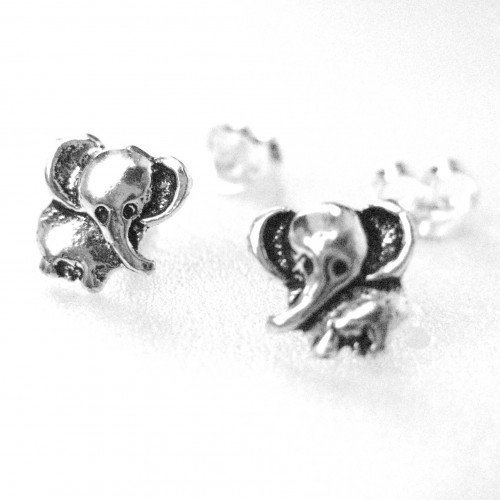 Miniature Elephant Stud Earrings - Sterling Silver
