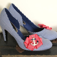 Hello Sailor - Nautical Pin-Up Shoes - size 37 / UK 4 / US 6.5
