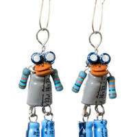 Mini-Bot Earrings by DeWitt Young : Eco-Friendly gifts from recycled, reused and natural materials for you, your home & business :: Eco-Artware.com