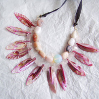 Pink mother-of-pearl , bib necklace