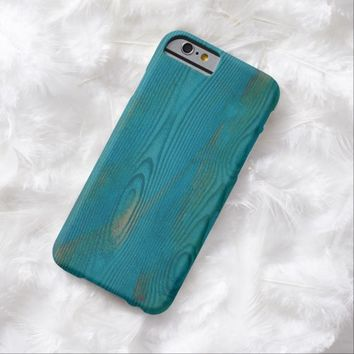Abstract teal blue wood texture iPhone 6 case