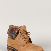 Wynne-01 Sweater Collar Lace Up Ankle Bootie
