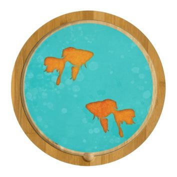 Goldfish silhouettes in turquoise water Cheese board