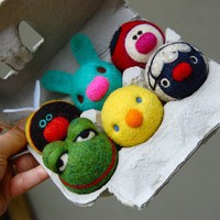 Tiny  WOOLY Baby Animals in egg carton Made to Order