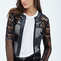Faux Leather-Paneled Mesh & Lace Jacket
