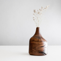 Bud vase handcrafted from walnut wood