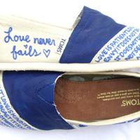 The Charlie - Blue and White Custom TOMS