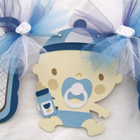 Baby boy baby shower banner in white, brown and shades of blue. - MADE TO ORDER