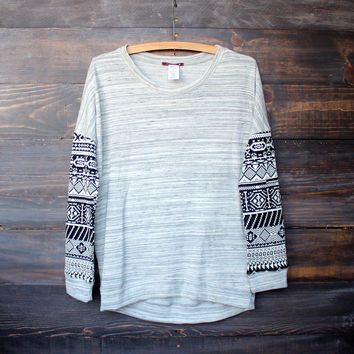 aztec sleeves grey marbled jumper sweater sweaters winter clothing clothing winter sweaters tops boutique clothing womens clothing
