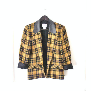 1970s plaid wool blazer / small fitted RETRO 70s vintage Mr Leonard leather trim CLUELESS jacket