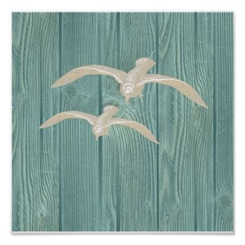 Sea Gull Vintage Aqua Wood Beach Poster