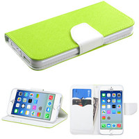 Book-Style Flip Stand Fancy Wallet Case for iPhone 6 - Green/White