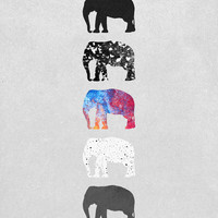 Five elephants Art Print by Elisabeth Fredriksson | Society6